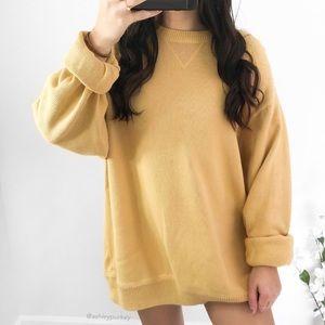 mustard yellow crewneck pullover sweater